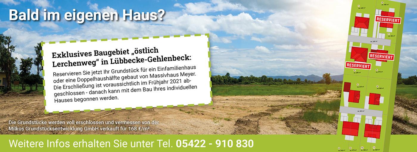 Grundstücksprojekt Lübbecke-Gehlenberg - Milkos Grundstücksentwicklung GmbH